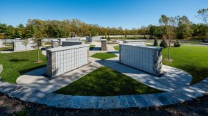 Cremains structures designed by BL Companies Architects installed at the Connecticut Veterans Memorial Cemetery in Middletown, Connecticut.